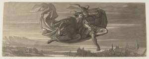 Das Freie Deutsche Hochstift verfügt über eine umfangreiche Sammlung von Illustrationen zum »Faust« – auf Papier und digital, darunter »Faust und Mephisto fliegen auf dem Zaubermantel durch die Luft« von August von Kreling (1819 –1876); Foto: Dettmar