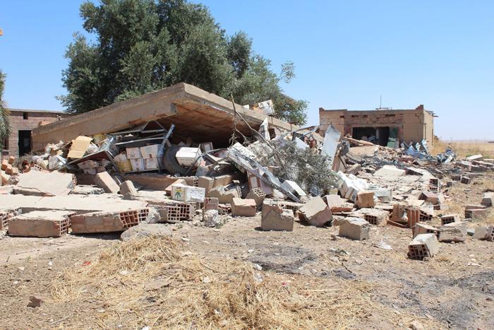 Das zerstörte Grabungshaus in Tell-Chuera (2015).