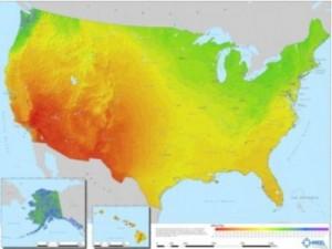 Sonneneinstrahlung über die gesamten USA, gemessen in KWh. [1]