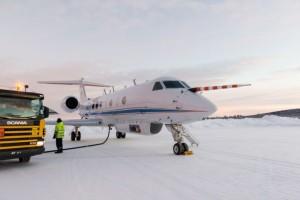 Auftanken für den nächsten Flug vom schwedischen Kiruna aus. Foto: Laila Tkotz, KIT