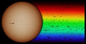 Elemente in der Sternatmosphäre absorbieren Licht bestimmter Frequenzen, so dass Lücken in Form schwarzer Linien im Spektrum entstehen. (c) M. Weigand/ N. A. Sharp