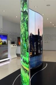 OLEDs sind biegsam und können ganze Wände abdecken. © LG Display