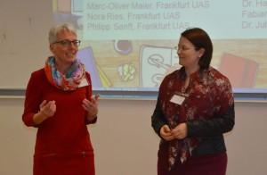 Prof. Tanja Brühl (l.) und Prof. Kira Kastell. Foto: Benedikt Bieber/Frankfurt University of Applied Sciences