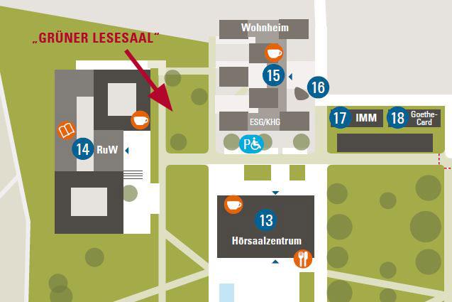 """Standort des """"Grünen Lesesaals"""" auf dem Campus Westend"""