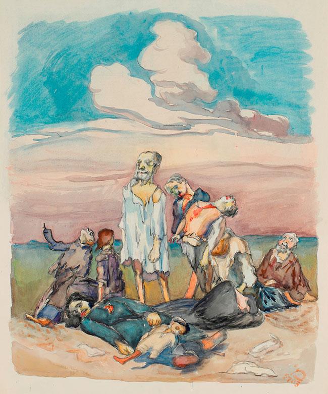 """Ludwig Meidner: Sterbende, 1942 bis 1943, aus dem Zyklus """"Leiden der Juden in Polen"""", Ludwig Meidner Archiv, Jüdisches Museum Frankfurt; Foto: Uwe Dettmar"""