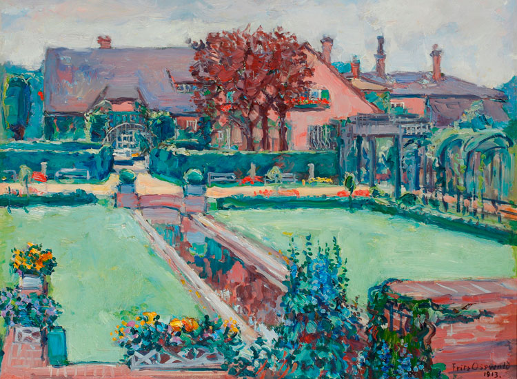 Haus in Darmstadt, 1913, Öl auf Pappe, 46,2 x 57,1 cm, bez. r. u.: Fritz Osswald 1913, Kunst Archiv Darmstadt e. V.; Foto: Uwe Dettmar