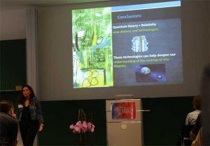 """Ivette Fuentes von der Universität Wien bei ihrem Vortrag """"Gravity in the quantum lab"""". Foto: FIAS"""