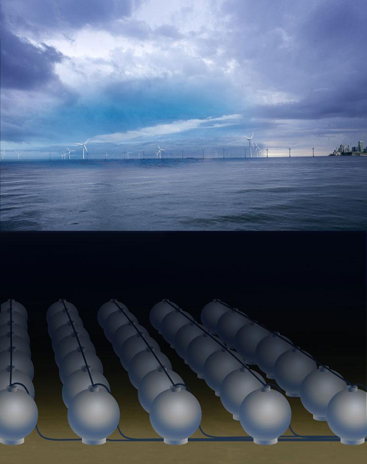 Konzept für ein Meeres-Pumpspeicherkraftwerk mit vielen Kugelspeichern (ca. 30 m Durchmesser) in 600 - 800 Metern Wassertiefe zur Zwischenspeicherung von Offshore-Strom; © Foto Fraunhofer IWES