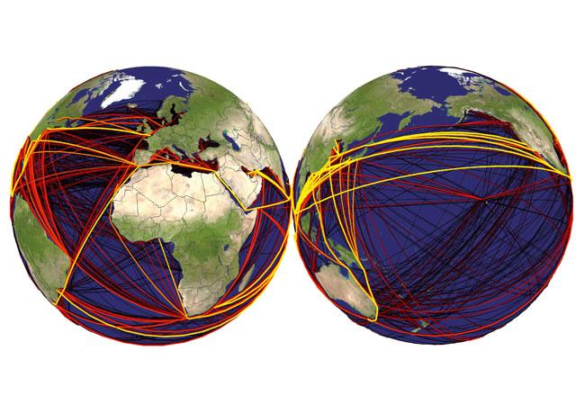 Die Weltkarte zeigt die Verbreitungswege fremder Arten durch den Schiffsverkehr. Die weißen Linien stellen Schiffsrouten dar und die Farben signalisieren, wie wahrscheinlich die Ausbreitung einer fremden Art entlang dieser Route ist. Schwarz repräsentiert eine geringe Wahrscheinlichkeit, gelb eine sehr hohe; Karte: Universität Oldenburg