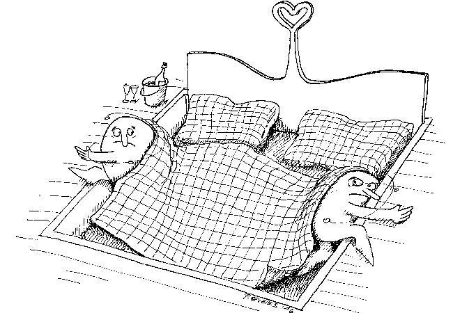 """When two loners are forced to share a bed, they move well beyond its edges to get away from each other."""