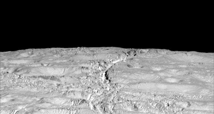 Bildtext: Eisproben von der Oberfläche Saturn-Mondes Enceladus auf der Erde zu untersuchen, das ist Prof. Frank Brenkers Traum von der Zukunft der Weltraumforschung ; Foto: NASA/JPL-Caltech/Space Science Institute