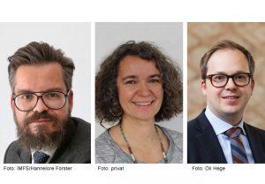 Foto (von links): Prof. Dr. Tobias Tröger (Foto: IMFS/Hannelore Förster), Prof. Dr. Petra Döll (Foto: privat), Prof. Dr. Rainer Haselmann (Foto: Oli Hege)