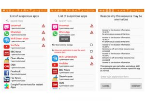 Auf dem linken Bildschirm ist die Liste der Apps zu sehen, die von der Datensicherheits-App A3 auf Risiken überprüft wurden. Auf dem mittleren Bildschirm kann der Nutzer das Icon einer App anklicken und sieht dann, auf welche Daten diese wie häufig zugegriffen hat (hier hat WhatsApp 40 Mal auf den Speicher und vier Mal auf Kontaktdaten zugegriffen). Der rechte Bildschirm zeigt an, warum die installierte App auf gespeicherte Daten zugegriffen hat, z. B. weil der Bildschirm gerade nicht angeschaltet war. Aber eine App nutzt auch kritische Daten, wie diejenigen der Kamera oder des Mikrofons.