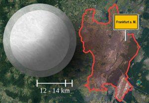 Größenintervall eines typischen Neutronensterns im Vergleich zur Stadt Frankfurt (Satellitenaufnahme: GeoBasis-DE/BKG (2009) Google).