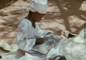 "A frame from the 1976 film ""Shaihu Umar"", which tells the story of the life of the cleric Shaihu Umar. The film was long thought to be lost. In 2016, negatives and copies were discovered in the archives of the Nigerian Film Corporation and restored by Arsenal – Institute for Film, Video and Sound with the support of the German Embassy in Abuja. This project led to the cooperation between the two universities."