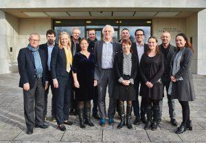 """Vertreter der Hochschulen in Lyon, Mailand und Birmingham fanden sich zu einem ersten Treffen an der Goethe-Universität ein, um über Möglichkeiten der Vernetzung zu einer """"Europäischen Universität"""" nachzudenken. (Foto: Jürgen Lecher)"""