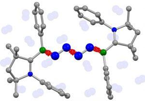 Erstmals wurden zwei Moleküle Luftstickstoff (blau, Mitte) von Chemikern aus Würzburg und Frankfurt direkt miteinander gekoppelt. Bildrechte: Dr. Rian Dewhurst / Dr. Marc-André Légaré