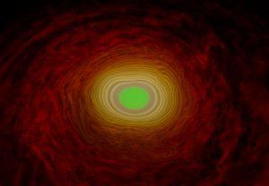 Kurz nach der Verschmelzung zweier Neutronensterne bildet sich im Zentrum des neuen Objekts ein Quark-Gluon-Plasma (grün). Rot, gelb: gewöhnliche Materie, hauptsächlich Neutronen. Bild: Lukas R. Weih & Luciano Rezzolla (Goethe-Universität Frankfurt)
