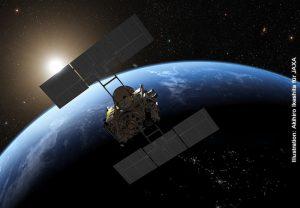 Vorbeiflug von Hayabusa 2 an der Erde: Bei ihrer Rückkehr wird die Sonde an der Erde vorbei zu einer weiteren Mission fliegen und eine Kapsel mit der Ryugu-Probe zur Erde schicken. Die Landung der Kapsel wird am Samstag, 5.12.2020, gegen 19 Uhr in der australischen Wüste erwartet. Illustration: Akihiro Ikeshita für JAXA
