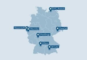 137 Wettbewerbsskizzen wurden eingereicht – jetzt hat sich PROXIDRUGS der Goethe-Universität und ihrer Partner als einer von sieben deutschen Zukunftsclustern durchgesetzt. (Übersicht: © BMBF)