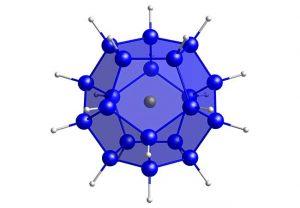 Die Siliziumkugel [Cl@Si20H20]−, die erstmals von Chemikerinnen und Chemikern der Goethe-Universität Frankfurt synthetisiert wurde und neue Anwendungen in der Halbleitertechnik verspricht. Blau: Silizium, grün: Chlorid-Ion, grau: Wasserstoff. Grafik: Goethe-Universität Frankfurt